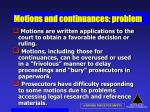 motions and continuances problem
