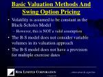 basic valuation methods and swing option pricing