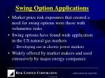 swing option applications