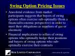 swing option pricing issues