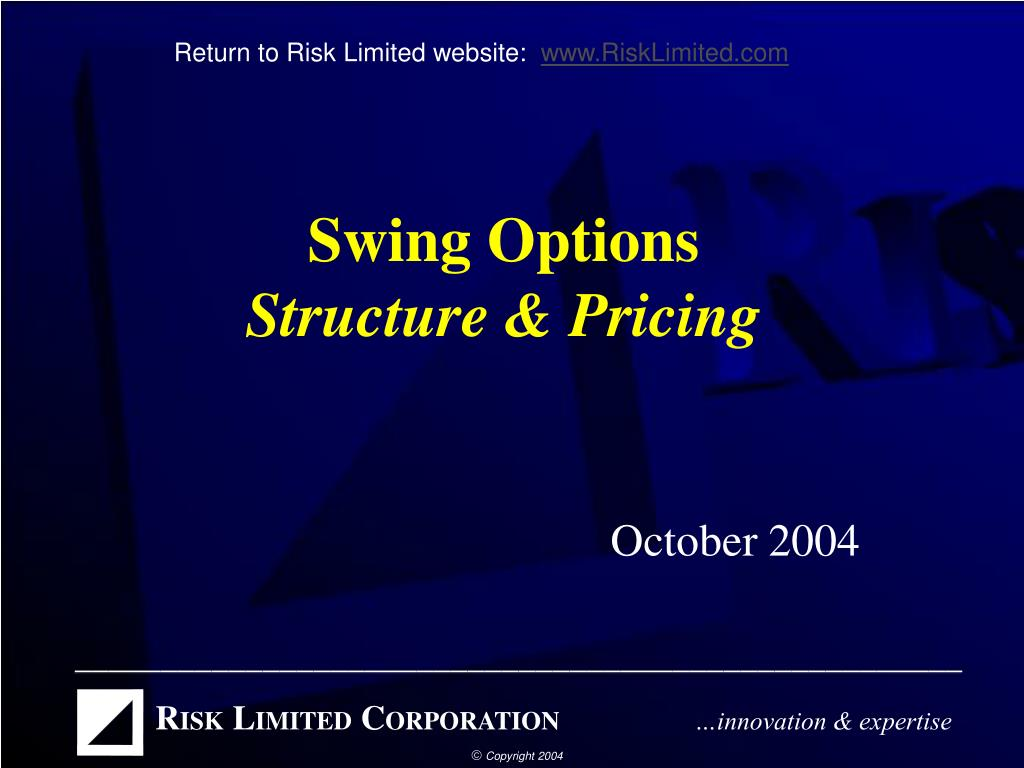 swing options structure pricing l.