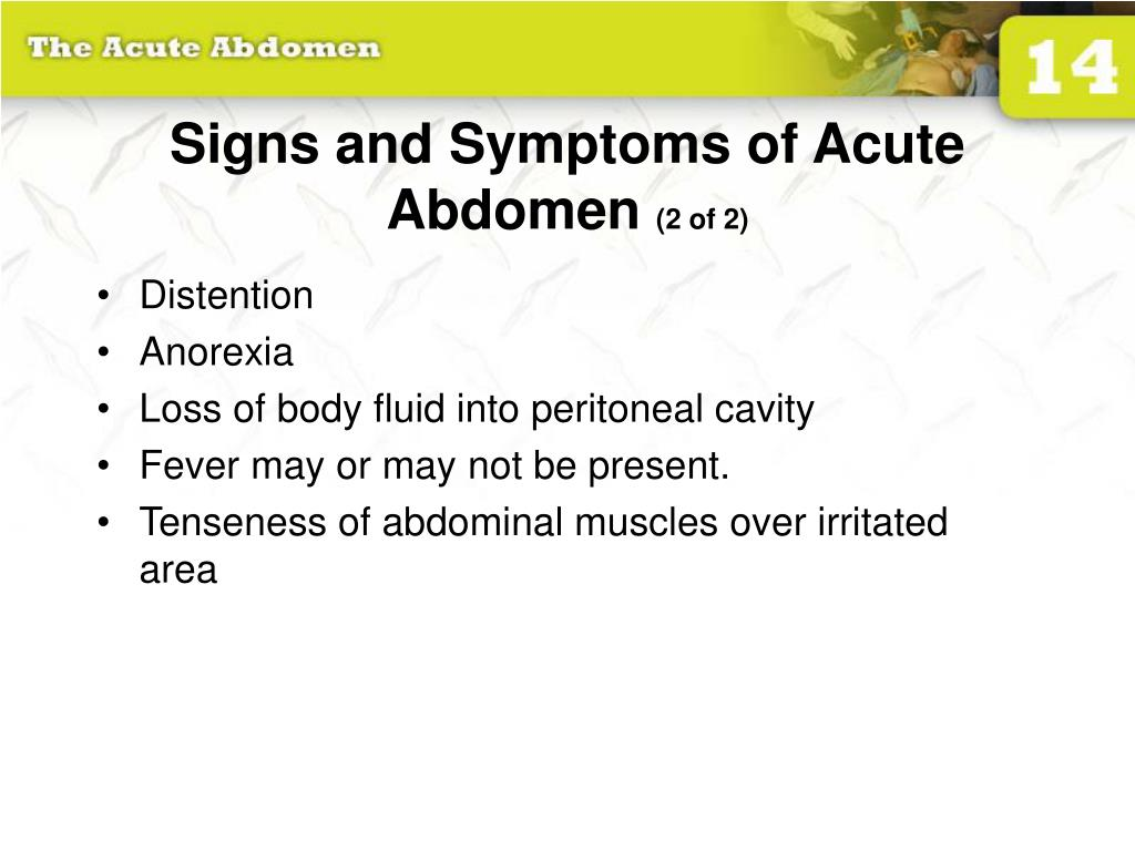 Signs and Symptoms of Acute Abdomen