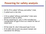 powering for safety analysis
