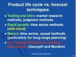 product life cycle vs forecast techniques