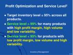 profit optimization and service level 2