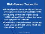 risk reward trade offs