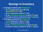 savings in inventory