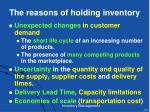 the reasons of holding inventory