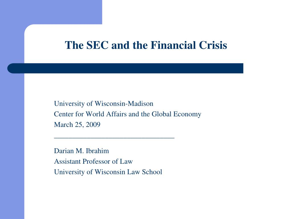 the sec and the financial crisis l.