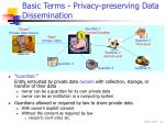 basic terms privacy preserving data dissemination