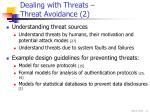 dealing with threats threat avoidance 2