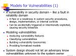 models for vulnerabilities 1