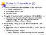 models for vulnerabilities 2