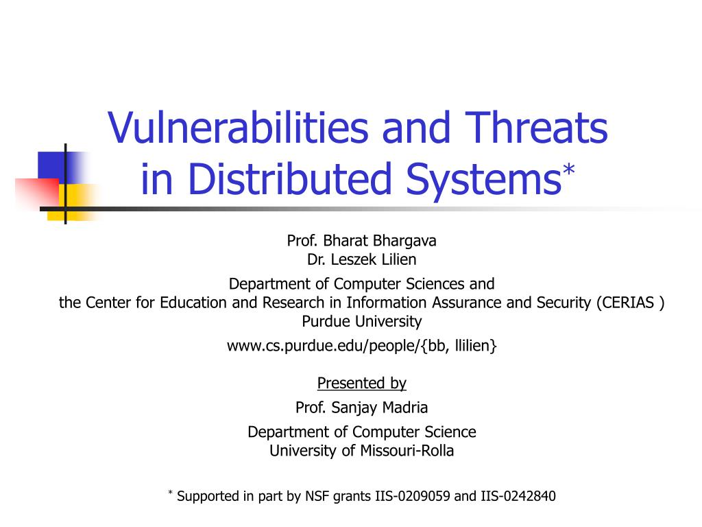 vulnerabilities and threats in distributed systems l.