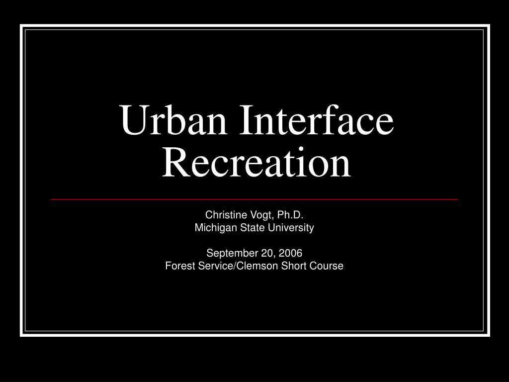 urban interface recreation l.