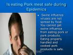 is eating pork meat safe during epidemics