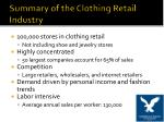 summary of the clothing retail industry