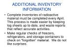 additional inventory information