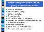 other assets you can own and still qualify for medicaid include