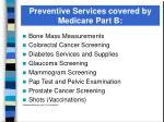 preventive services covered by medicare part b
