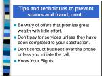tips and techniques to prevent scams and fraud cont