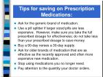 tips for saving on prescription medications