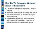 how do we determine optimum reach vs frequency