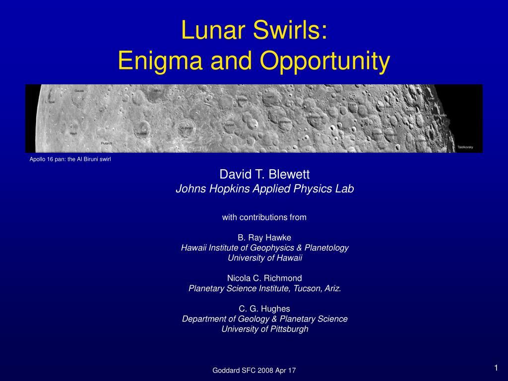 lunar swirls enigma and opportunity l.