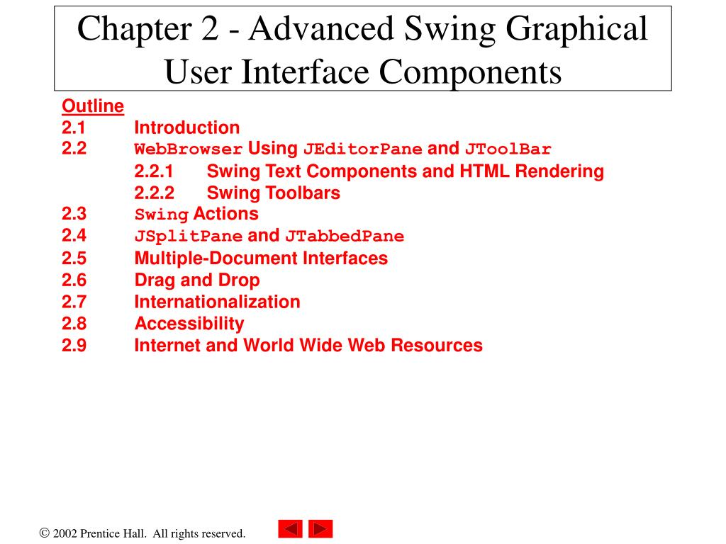 chapter 2 advanced swing graphical user interface components l.
