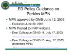 ed policy guidance on perkins mpn8