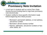 promissory note invitation