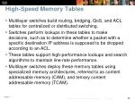 high speed memory tables
