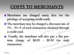 costs to merchants