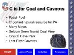 c is for coal and caverns