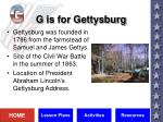 g is for gettysburg