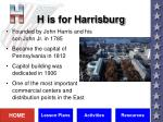 h is for harrisburg