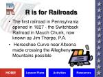 r is for railroads