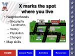x marks the spot where you live