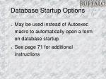 database startup options