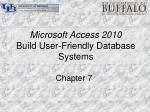 microsoft access 2010 build user friendly database systems