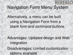 navigation form menu system