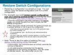 restore switch configurations