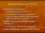 actual community needs