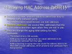 managing mac address table 1