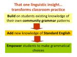 that one linguistic insight transforms classroom practice