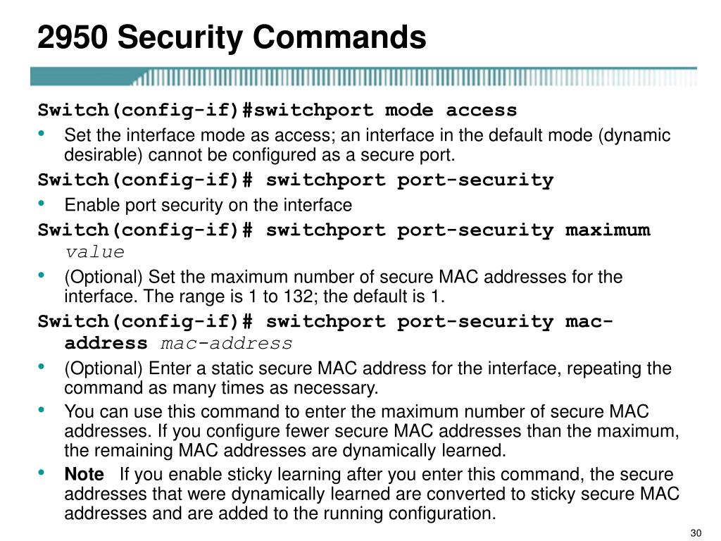 2950 Security Commands
