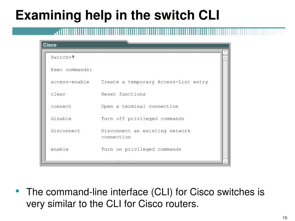 Examining help in the switch CLI