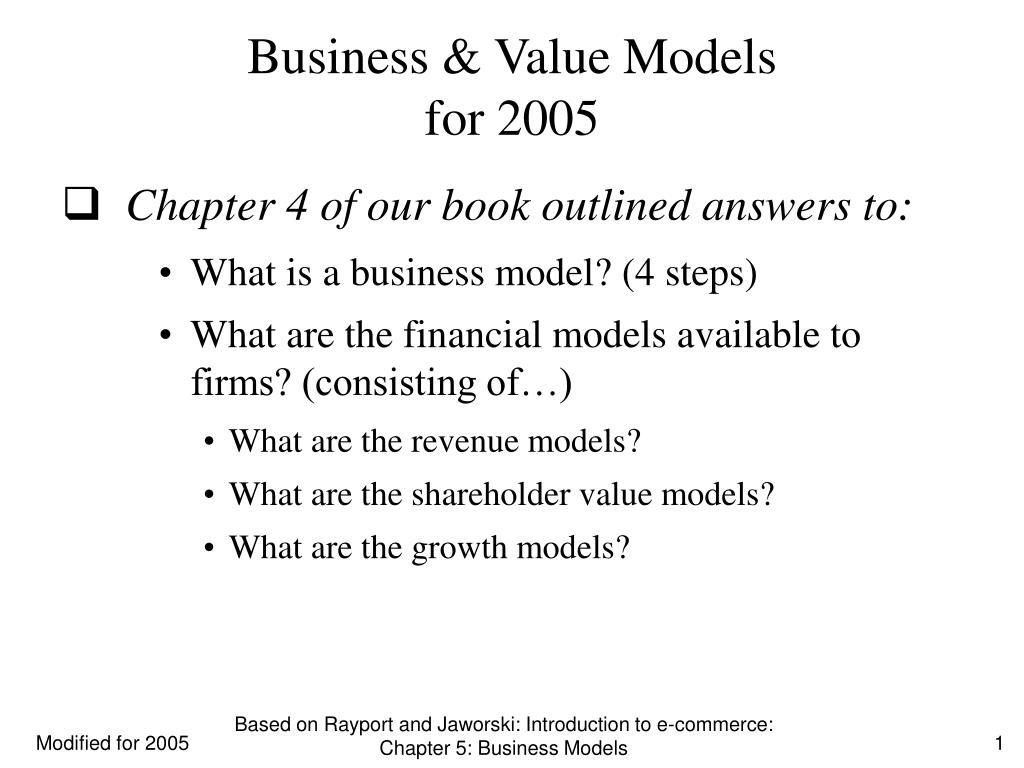 business value models for 2005 l.