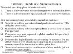 timmers trends of e business models