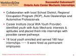 successful outcomes ontario auto center mechanic internships